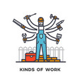 hiring a worker repairing a house a multi-armed vector image vector image