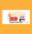 home theater landing page template mother vector image vector image