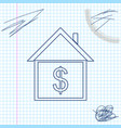 house with dollar line sketch icon isolated on vector image