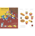 isometric fast food restaurant concept vector image