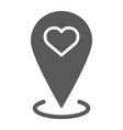 love location glyph icon love and gps map vector image vector image