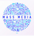 mass media concept in circle with thin line icons vector image vector image