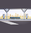 modern bus stop empty no people airport public vector image