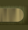 polished metal plate on wooden green boards vector image vector image
