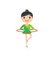 pretty gymnast twist hula hoop isolated on white vector image vector image