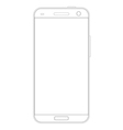 Realistic detailed outline drawing smartphone vector image