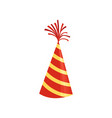 red cone hat with yellow stripes colorful vector image