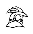 robin hood head side view sport mascot black and vector image vector image