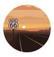 route 66 scene round icon vector image vector image
