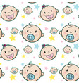 seamless background with baby faces vector image vector image