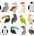 seamless pattern Cute Cartoon birds set - gannet vector image
