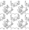 seamless pattern old school tattoo style hearts vector image vector image
