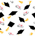 seamless pattern with graduation caps and scrolls vector image vector image