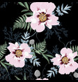 seamless peony pattern on black background vector image vector image