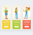 set of vertical banners with happy smiling farmers vector image vector image