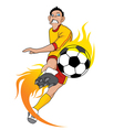 Soccer Fire Ball Kick vector image vector image