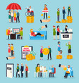 social security orthogonal icons set vector image vector image