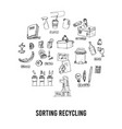 sorting recycling isolated hand drawn doodles vector image