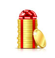 stack of coins with red ribbon and gift bow vector image vector image