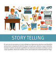 storytelling writer at desk with laptop literacy vector image vector image