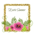 summer tropical plants and hibiscus flowers vector image