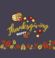 thanksgiving greeting card with apples vector image