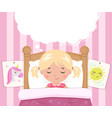 the little girl sleeps in the bed speech bubble vector image vector image
