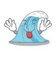 tongue out splash surf wave cartoon vector image