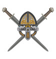 viking helmet with two crossed swords and vector image