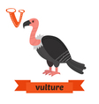 Vulture V letter Cute children animal alphabet in