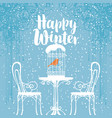 winter banner with bird in the cage on the table vector image