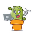 with laptop cute cactus character cartoon vector image vector image