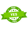 yes ribbon yes round green sign yes vector image vector image