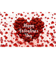 happy valentine s day lettering card hearts light vector image