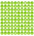 100 cat icons set green circle vector image vector image