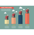 Aging population infographic vector image vector image