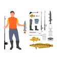 angler and fishing tool and clothing vector image