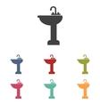 Bathroom sink icons set vector image vector image