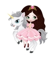 Beautiful princess with pink dress riding horse vector image vector image