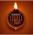 big diwali sale beautiful diya template vector image vector image