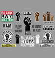 black lives matter graphic design elements vector image vector image
