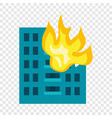 building in fire icon flat style vector image