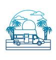 caravan car vehicle on sunset landscape vector image vector image