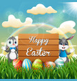 cartoon easter bunny with easter eggs next to a wo vector image vector image