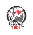 casino logo vintage gambling badge or emblem estd vector image vector image