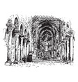 cathedral of monreale - interior view vintage vector image vector image