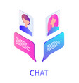 chat boxes and people avatars vector image