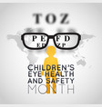 childrens eye health and safety month logo icon vector image vector image