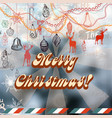 christmas background with vintage styled toys vector image vector image