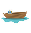 color silhouette wooden fishing boat in lake with vector image vector image